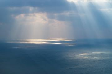 Sunlight on the ocean aerial
