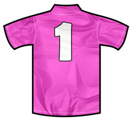 Number 1 one pink sport shirt as a soccer,hockey,basket,rugby, baseball, volley or football team t-shirt. For the goalkeeper or woman player