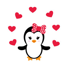 cute penguin girl with heart
