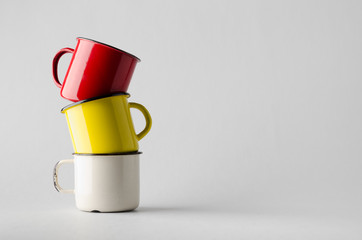 Enamel Mug Mock-Up - Three Mugs
