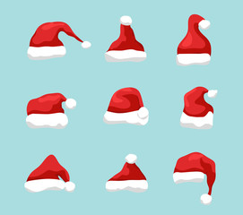 Santa hat vector symbol illustration. Holiday red hat santa claus design decoration. Winter Merry christmas and new year celebration