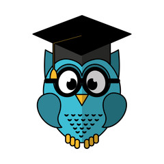 owl with graduation hat icon vector illustration design
