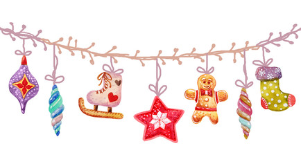 Christmas Watercolor seamless tree toys icons , items of a collection and illustration.