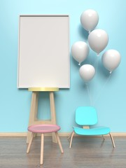 Spacious rooms with a balloon frame,3D rendering