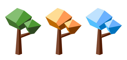 Low poly tree colored in three seasons colors: summer, autumn and winter.
