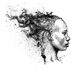 Pretty African American Girl. Beautiful black woman. Profile view. Hand draw vector illustration