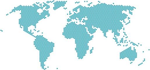 Foto op Plexiglas Wereldkaart Hexagon shape world map on white background, vector illustration.