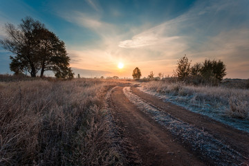 Rural road on a autumnal field at sunrise moment. Hoarfrost on a plants and on the ground.