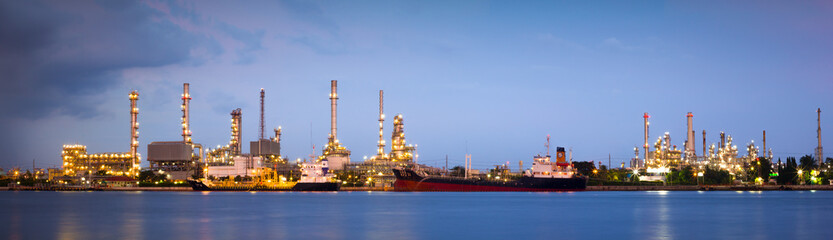 oil refinery industry plant in twilight time
