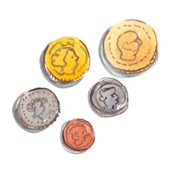 Five simple imaginary different sized coins painted in watercolor on clean white background