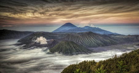 Twilight in Bromo Volcano