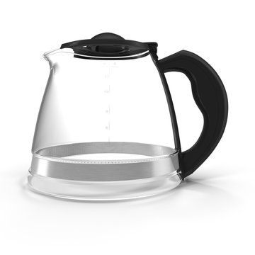 Empty coffee pot isolated on white. 3D illustration