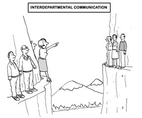 Black and white business illustration showing the lack of interdepartmental communication.