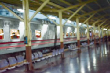 Blurred abstract background of train station