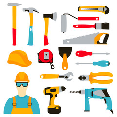 Vector set collection icons of builder equipment vector illustration