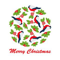 Christmas vector of bulfinch and rowan in circle