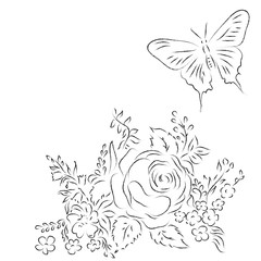 Bouquet of different flowers, butterfly. Sketch, outlines, pencil or coal imitation. Elements for page decoration.