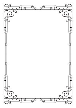 Whimsical black rectangular frame. A4 page proportions.