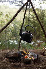 Tea kettle hanging over bonfire at campsite in forest