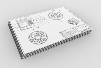 3d illustration of engineering drawings with parts