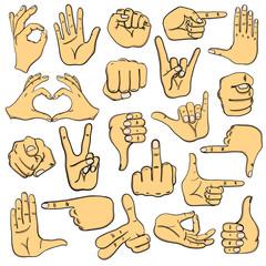 Set Of Human Hands Signs Ans Signals.