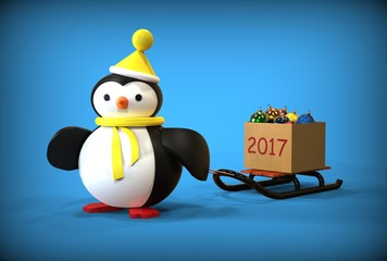 3d illustration of New Year toys