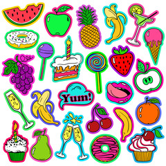 Fun Set Of Fruits And Sweets Stickers.