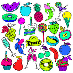 Fun Set Of Fruits And Sweets Icons.