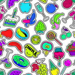 Fun Seamless Pattern Of Fruits And Sweets Stickers.