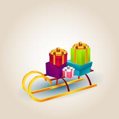 Vector color illustration of christmas sleigh,gift boxes,Santa's sleigh
