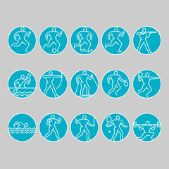 Simple linear set of sports icons. Vector illustration