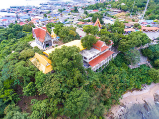 Aerial Shot of Beautiful  Temple  and Fisherman Village with Sea