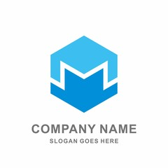 3D Monogram Letter M Geometric Hexagon Cube Architecture Engineering Business Company Stock Vector Logo Design Template