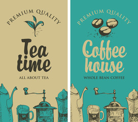 set of vector banners on the theme of tea and coffee with pictures of kitchen equipment