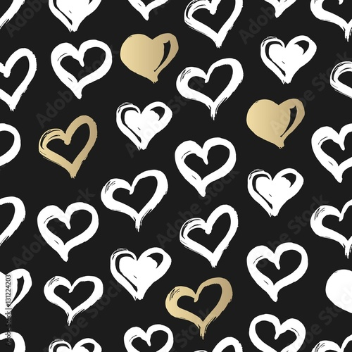 Seamless Heart Pattern Hand Drawn With Ink Black Gold And White Love