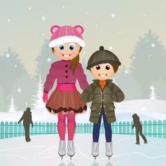 children skating on ice