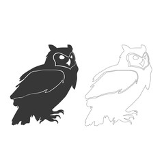 Vector owl silhouettes on the white background