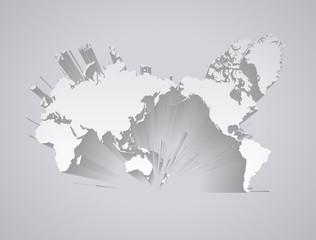 世界地図 立体(グレー)