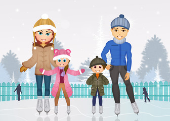 family skating on ice