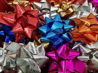 Celebration the boxing day with closed up  variety colorful ribbon collection for gift