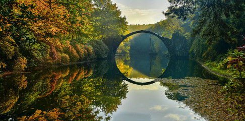 Amazing place in Germany - Rakotzbrucke also known as Devils Bridge in Kromlau. 壁紙(ウォールミューラル)