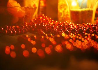 Red beads bokeh