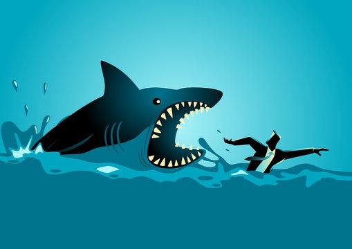 Businessman swimming panicly avoiding shark attacks