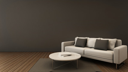 Simple of livingroom set modern - 3D render