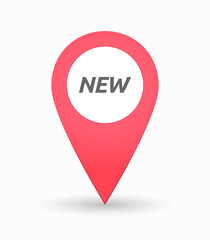 Isolated map mark with    the text NEW