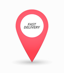 Isolated map mark with  the text FAST DELIVERY