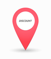 Isolated map mark with    the text DISCOUNT
