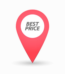 Isolated map mark with    the text BEST PRICE