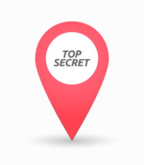 Isolated map mark with    the text TOP SECRET