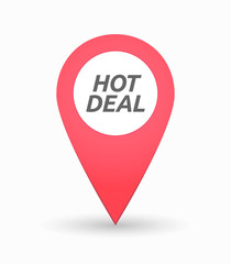 Isolated map mark with    the text HOT DEAL